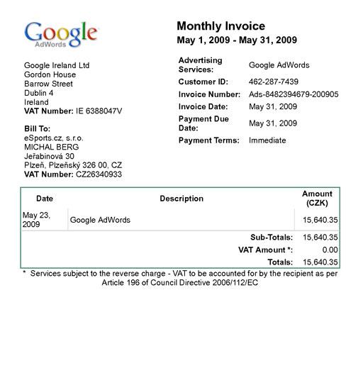factura google adwords