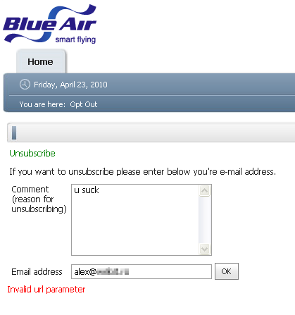 blueair invalid parameter