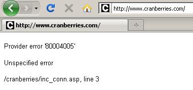 cranberries site down